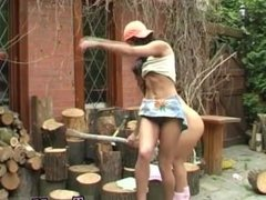 Russian girl fingered in public Cutting wood and eating pussy