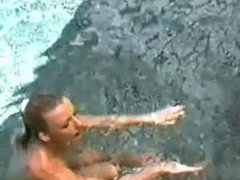 Karen White topless and wet in pantyhose in a pool
