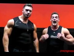 Bodybuilders Wrestlers Flexing for camera