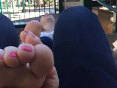 Blonde Half-Asian Feet Tickled at the Park 2