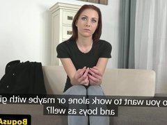 Casted redhead fucked at euro office audition