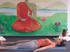very sexy and cute teen doing yoga