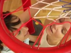 Thai amateur lesbian Cindy and Amber romping each other in the gym