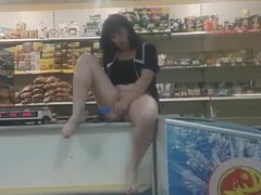 The saleswoman aunt Galya Masturbates on the counter