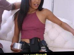 Maya Bijou gagged and fucked huge cock