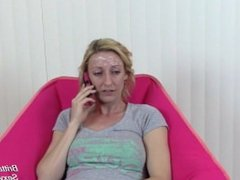 Blonde on Phone Gets Facial and Ignores Dripping Cum