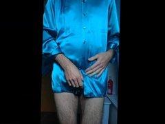 Wanking and cumming on satin blouse