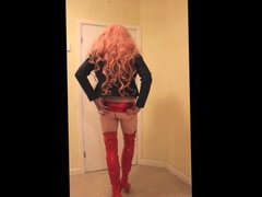pink haired slut in red shiny clothes