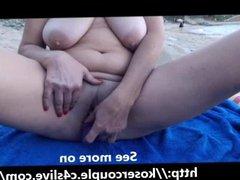 Masturbating at a beach!