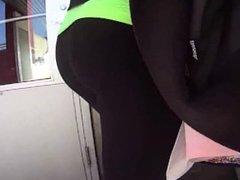 Black yoga pants booty