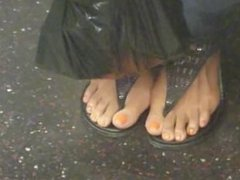 Candid feet on the train