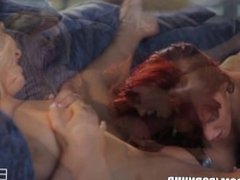 Stunning redhead beauty has a fetish for her blonde GF's feet