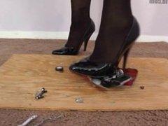 high heel stocking crush a toy car