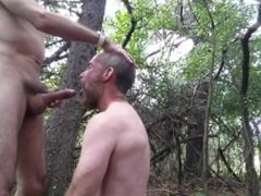 Pig manthroat gets pup balto piss outdoor in public in woods