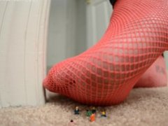 Giantess in Red Heel and Fishnets