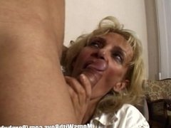 Blonde Sexy Mature Lady Gets Her Face Covered With Cum