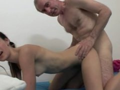 OLD FART FUCKING SEXY SLIM TEEN BRUNETTE !!