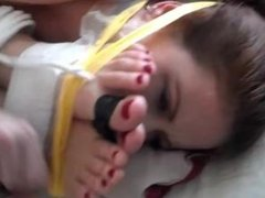 shauna and whitney tied feet to face