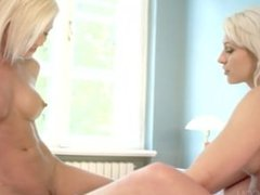 Two blonde lesbian babes - Tracy And Lena pussy licking and massaging