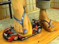 crush toy car in flip flops