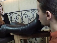 Sexy Girl licking boots and smelly nylon feet