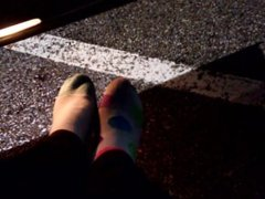 Toes in the parking lot. Trouble getting my sock off. Its Cold!!