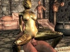 Female argonian gets laid with a human guard