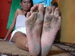 Dirty big wrinkled soles