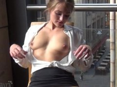 Gorgeous Mira Nude in Public on My Balcony Masturbating