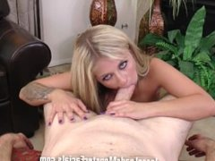 Madelyn Monroe gags while deep throating some big cock then gets facial