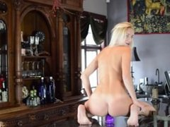 Hot Blonde Rides Suction Dildo on Bar & Squirts
