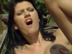 Smoking Skinny Brunette Outdoor MILF Fuck