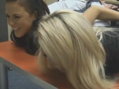Two British office girls get tickled