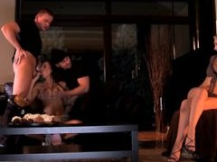 Aleska Diamond Gets DPd by Two Guys While Her Hot Girlfriend Is a Voyeur