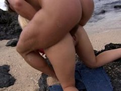 Big Boobed Blonde Jemstone Bends over and Gets Fucked on the Rocks