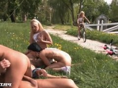 Four Pornstars Race Naked for Sex in This Outdoor Group Sex Scene