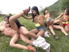 Jennifer Love and Her Girlfriends Are Having an Outdoor Orgy with a DP