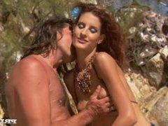 Leanna and Sahara Have a Threesome with a Guy on a Beach