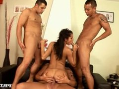 Lucy Belle Gives Deepthroat Blowjobs and Handjobs in This Orgy with DP