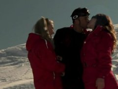 Members of the Ski Rescue Patrol Find a Stranded Skier and Screw Him