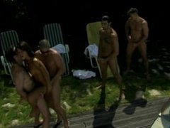 While Outdoors Sunbathing Asian Hottie Jade Sin Gets DP in a Gangbang