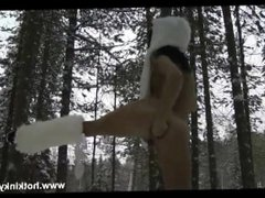 HKJ Anal self fist in the snow with prolapse