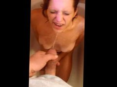 DEGRADED TEEN WHOREON HER KNEES SHOWERS IN PISS