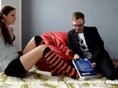 Teacher worhips student's feet