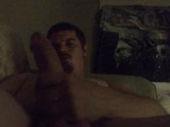 Solo Big Cock Stroking with Cum Shot