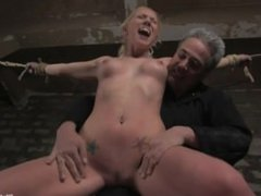 Submissive slut gets hung upside down while toyed