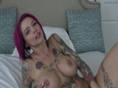 Tatted Biker Chick Anna Bell Peaks Cums Hard On Dildo