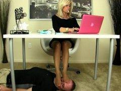 Under desk nylon feet on your face