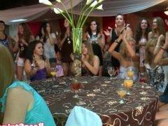 Girlfriend sucking off stripper at party