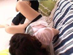 Licking her sensitive foot